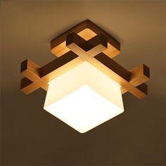 niños lámparas de techo de la sala de cepillo Madera lámpara de luz en el pasillo de techo del porche creativa lámpara del dormitorio LED minimalista moderna lámpara del salón de techo chino japonesa: Amazon.es: Hogar