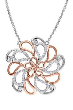 Two-Tone 14K Gold Diamond Flower Motif Pendant Necklace - 0.33 ctw by Delmar on @HauteLook