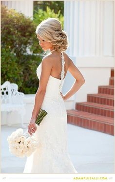 I love the hair, the dress detail & the flowers.  This is how I envision my wedding day.