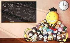 Koro Sensei with his precious students. Otaku Anime, All Anime, Manga Anime, Anime Chibi, Rio Nakamura, Assassination Classroom Funny, Blue Exorcist, Classroom Memes, Google Classroom