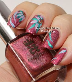 Abstract floral nail art on Briar Rose
