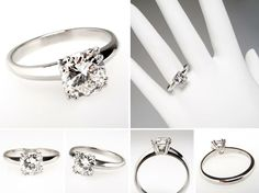 Vintage 1 Carat Diamond Engagement Ring Solitaire Platinum - EraGem