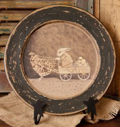 Chicken Pulling Bunny Cart   from Country Craft House