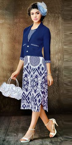 Amazing Blue Silk Designer Kurti.This Indo Western Kurti has attractive look with print work and lace work on it which gives you ethnic look.