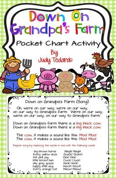 A fun pocket chart activity to use with your students before or after a trip to a farm. I have included all words and pictures you'll need. Just print and cut and your pocket chart activity is ready to use. I have included a cow horse duck pig goose Fun Songs For Kids, Songs For Toddlers, Children Songs, Preschool Songs, Preschool Lessons, April Preschool, Preschool Farm, Preschool Learning, Preschool Ideas