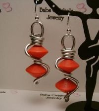 UNIQUE MODERN STYLE PINK WOOD BEADS/SILVER WIRE WRAP EARRINGS!!!