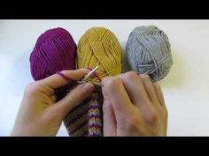 Helix Knitting-this knitting technique demonstrates how to knit with various colours in the round on circular needles without creating a jog.Excellent for knitting socks.