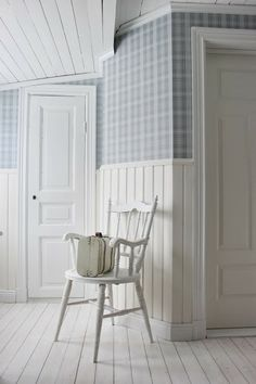Tongue and groove wall paneling and ceiling with gingham wallpaper and white timber floors #wallpaneling