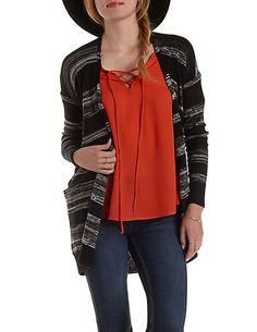 Marled Stripe Open Cardigan Sweater