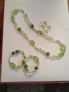 Beaded earrings necklace and 2 beaded bracelets by 2Timothys16, $29.00