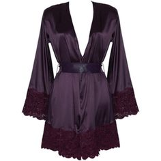Loveday London Damson Boudoir Gown ($595) ❤ liked on Polyvore featuring intimates, sleepwear and nightgowns
