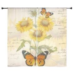 Sunflowers and butterflies Curtains on CafePress.com