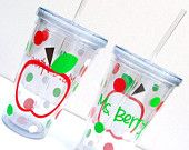 Apple for Teacher: Personalized Insulated Acrylic Tumbler with Lid and Straw
