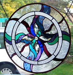 "Stained Glass Window Hanging 18 1/2"" diameter"