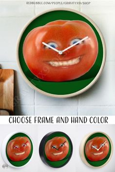 """* """"Smiling Tomato - Have a Nice Day!"""" Wall Clock by #Gravityx9 