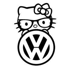 kitty decal Nerdskitty peeking decal VOLKSWAGEN For: Car , Truck, Laptop, Ipad, VW, Window
