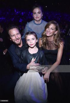 Eddie Vedder, Olivia Vedder, Harper Vedder and Jill Vedder attend 32nd Annual Rock & Roll Hall Of Fame Induction Ceremony at Barclays Center on April 7, 2017 in New York City. The broadcast will air on Saturday, April 29, 2017 at 8:00 PM ET/PT on HBO.