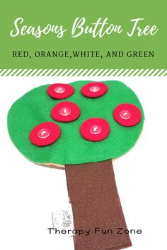 buttoning — Page 2 — Therapy Fun Zone Activities Of Daily Living, Autumn Activities, Activities To Do, Toddler Activities, Button Tree, Pediatric Ot, Different Seasons, Sensory Play, Red Apple