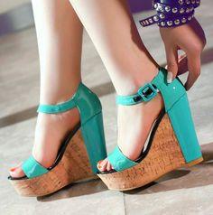 legant Korean High Heel Wedge Sandals Blue
