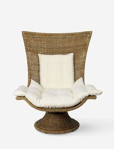 Our Akila Swivel Chair offers the kind of dynamic style that your space has been missing. Soft upholstered cushions and a curvy rattan shape make it both stylish and comfortable. Cane Furniture, Farmhouse Furniture, Outdoor Furniture, Flat Ideas, White Cushions, Accent Chairs For Living Room, Cozy Corner, Occasional Chairs, Vases Decor