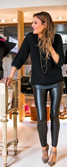 Black lace sweater and shinning skinny ladies jeans