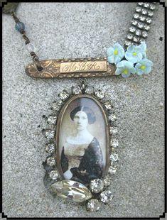 Vintage Jewelry Crafts Vintage assemblage soldered pendant necklace by LandofNodStudios by Ann Jamison Old Jewelry, Jewelry Crafts, Jewelry Art, Vintage Jewelry, Handmade Jewelry, Jewelry Necklaces, Jewelry Design, Jewelry Making, Glass Jewelry