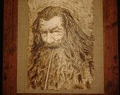 Pyrographed framed wooden plaque of Gandalf from The Hobbit .