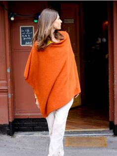 100% Cashmere Draped Orange Red Poncho Cashmere Poncho, Cashmere Sweaters, Michael Kors Outlet, Michael Kors Bag, Fashion News, Fashion Outfits, Fashion Trends, Designer Handbags Outlet, Michael Kors Fashion