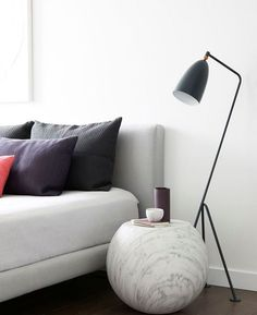 "Gubi | Grashoppa Floor Lamp https://www.surrounding.com.au/grashoppa-floor-lamp/ Gubi Grashoppa Floor Lamp  The Grashoppa Floor Lamp by Gubi was first produced in 1947. It was designed by Greta Grossman: ""The tubular steel tripod stand is tilted backward and the elongated aluminium conical shade is ball-jointed onto the arm; so the light can be directional, yet the glare is minimal. Both stand and shade are powder-coated."" #GubiGrashoppaFloorLamp #grashoppafloorlamp #gubifloorlamp…"