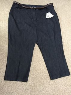 M&S CLASSIC Collection Ladies Cotton Stretch trousers with Belt UK20, EU48 Short | eBay