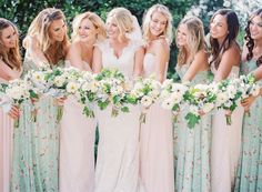Fun floral printed bridesmaid dresses: http://www.stylemepretty.com/2016/06/15/a-wedding-thats-pink-mint-and-pretty-all-over/ | Photography: Sposto Photography - http://spostophotography.com/