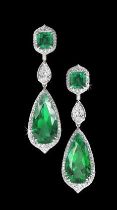 David Morris Diamond and Emerald Pendant Earrings  --  Sultanesque