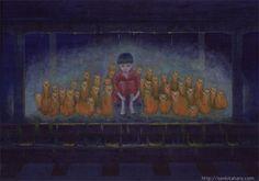 """『雨宿り』北原 千 """"Waiting"""" By Sen Kitahara, アクリル, art, acrylic"""