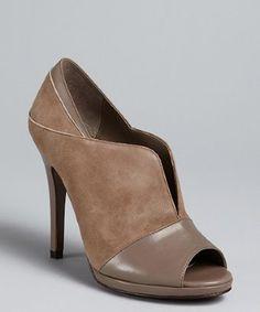 Diane Von Furstenberg dove grey leather 'Shine' open toe pumps | BLUEFLY up to 70% off designer brands at bluefly.com