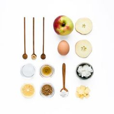 Ingredient flat lay for our original smoked apples and ricotta cheese strudel