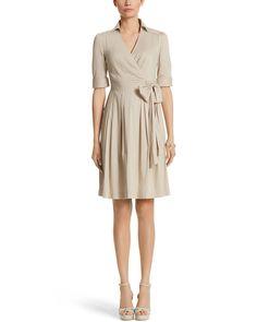 White House | Black Market 3/4 Sleeve Fit & Flare Shirt Dress