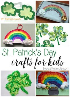 A round-up of 25+ craft ideas for kids to make for St. Patrick's Day with everything from rainbows and leprechauns to shamrocks and luck!