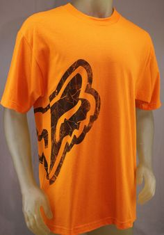 Fox Racing orange T-shirt with black Foxhead logo that wraps around the right side