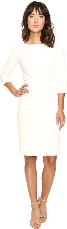 Badgley Mischka Women's Faux Wrap Crepe Dress Ivory Dress. Badgley Mischka Size Guide. Dazzle the masses on date night or any night in this show-stopping Badgley Mischka® dress. Sheath silhouette. Gorgeous solid print on a stretchy crepe fabrication. Round neckline. Three-quarter sleeves. Seaming and gathering detail creates a flattering shape. Concealed zipper with hook closure. Lined. Straight hemline. 90% polyester, 10% spandexLining: 100% polyester. Dry clean only. Imported....