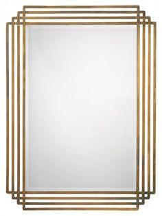 Line Motif Mirror, Brass - Wall Mirrors - Mirrors Brass Mirror, Wall Mounted Mirror, Diy Mirror, Bathroom Mirrors, Wall Mirrors, Art Deco Mirror, A Frame Cabin, Interior Decorating, Interior Design