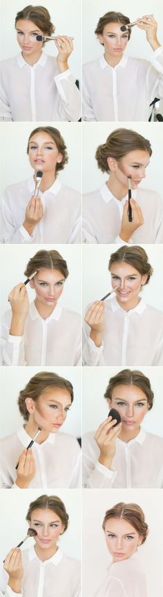 Contouring & Highlight Tutorial #makeup #beauty #countouring  - Great quick step by step reminder. by isabelle07
