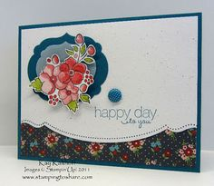 handmde greeting card from Stamping to Share ... Bordering on Romance posey cut out and popped up over double cut framelits ... great use of edge die and stamp ... luv how th flower color coordinates with the patterned paper base ... pretty card!! ...Stampin' Up!