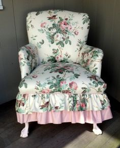 Romantic pink rose chintz upholstered chair