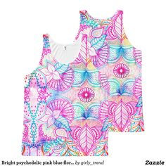 Bright psychedelic pink blue floral doodle pattern All-Over print tank top