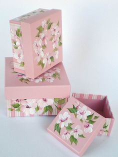 Set of 3 hand painted gift boxes by Hand Painted Petals