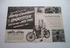 """Thisis an""""Original NotA Copy"""" large two page  16 1/2"""" by 11"""" vintage dated Dec. 1957 Gerald McGovern On Harley Davidson Sportster Wins 500 Mile lack Pine Endurance Run magazine advertisement. GreatGraphics. Nice reference go-with for collector.Good Condition.Shipping $2.25 in the USA. Shipped flat with backer board in plastic sleeve for protection.Always combined shipping for two or more items.   eBay!"""