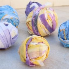 Don't toss your old sheets, make balls of rag yarn for some great crocheting and knitting projects!