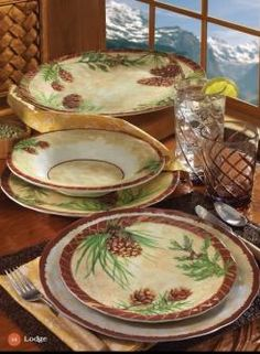 Image 2. Dinner Plate SetsDinner PlatesRustic DinnerwarePatio  TablesPinePatiosDining RoomsPine TreeRustic Dinnerware Sets