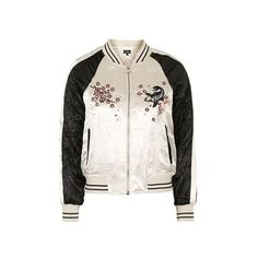 TopShop Petite Embroidered Bomber Jacket ($130) ❤ liked on Polyvore featuring outerwear, jackets, pale pink, embroidery jackets, topshop jacket, bomber style jacket, bomber jacket and blouson jacket