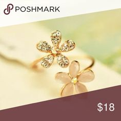 Beautiful Cute Floral CZ Gold Filled Ring Brand New #R034 Jewelry Rings